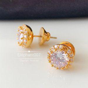 Henri Bendel crystal gold earrings